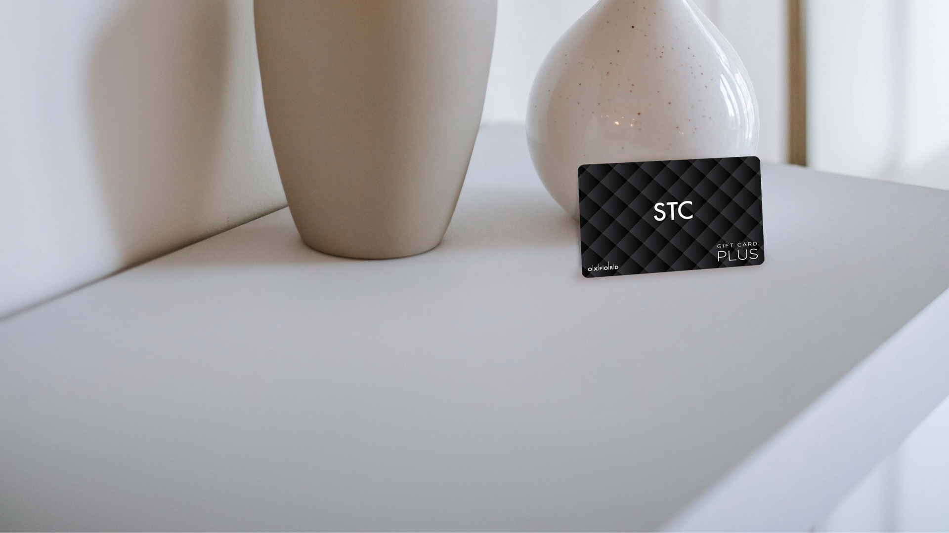 STC Gift Card Image, Black STC Gift Card, Beige pot